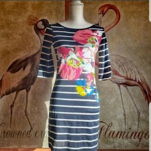 French Connection T Shirt Dress Stripe Floral Navy